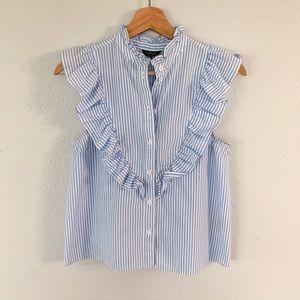 Topshop   striped ruffle shirt